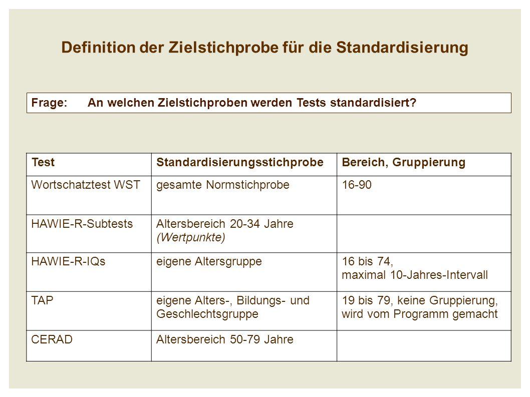 Definition der Zielstichprobe für die Standardisierung Frage: An welchen Zielstichproben werden Tests standardisiert.