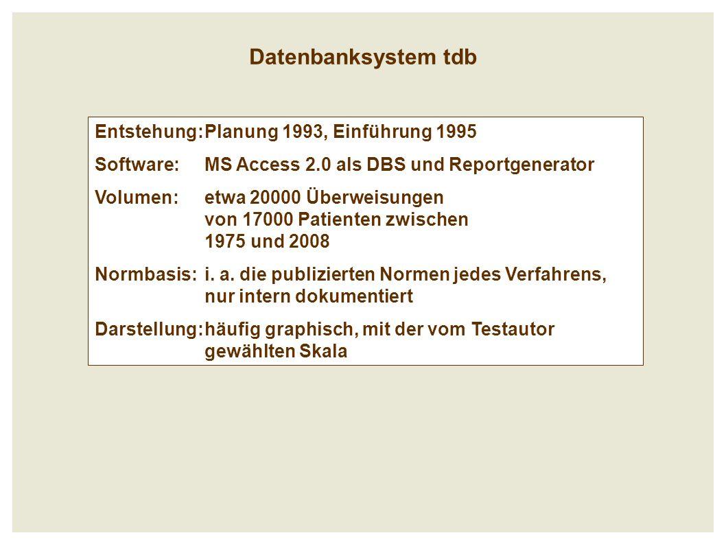 Datenbanksystem tdb Entstehung:Planung 1993, Einführung 1995 Software: MS Access 2.0 als DBS und Reportgenerator Volumen: etwa 20000 Überweisungen von 17000 Patienten zwischen 1975 und 2008 Normbasis: i.