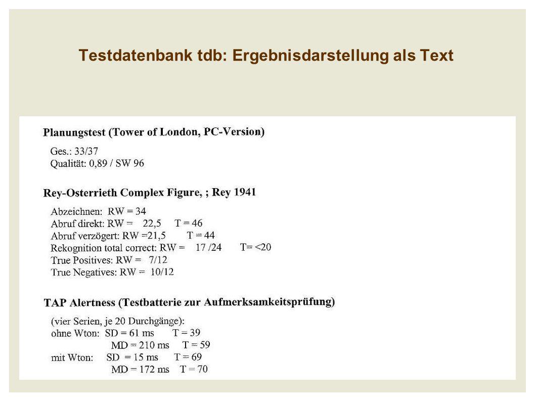 Testdatenbank tdb: Ergebnisdarstellung als Text