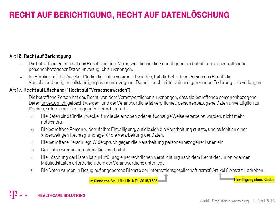 Recht auf Berichtigung, Recht auf Datenlöschung Art 16.