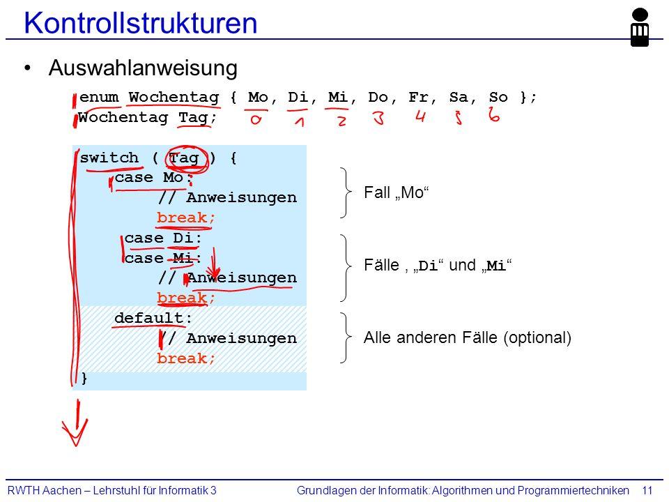 """Grundlagen der Informatik: Algorithmen und ProgrammiertechnikenRWTH Aachen – Lehrstuhl für Informatik 311 Kontrollstrukturen Auswahlanweisung enum Wochentag { Mo, Di, Mi, Do, Fr, Sa, So }; Wochentag Tag; switch ( Tag ) { case Mo: // Anweisungen break; case Di: case Mi: // Anweisungen break; default: // Anweisungen break; } Fall """"Mo Fälle ' """" Di und """" Mi Alle anderen Fälle (optional)"""