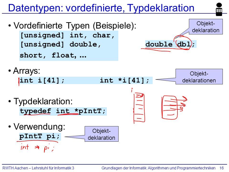 Grundlagen der Informatik: Algorithmen und ProgrammiertechnikenRWTH Aachen – Lehrstuhl für Informatik 316 Datentypen: vordefinierte, Typdeklaration Vo