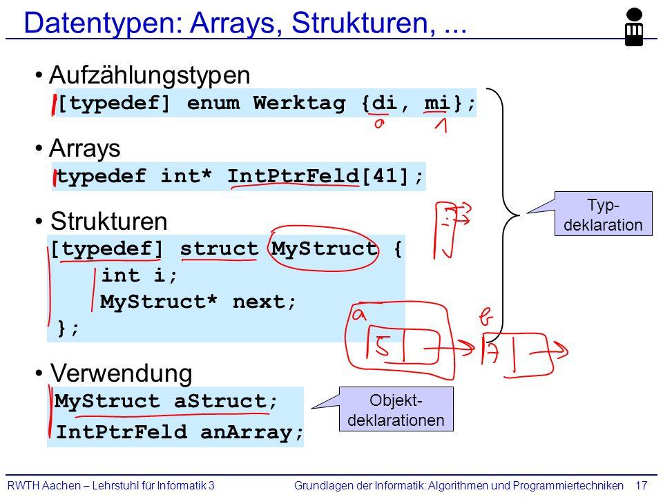 Grundlagen der Informatik: Algorithmen und ProgrammiertechnikenRWTH Aachen – Lehrstuhl für Informatik 317 Datentypen: Arrays, Strukturen,...