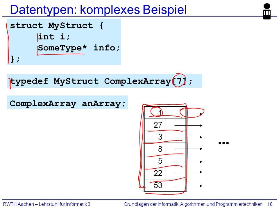 Grundlagen der Informatik: Algorithmen und ProgrammiertechnikenRWTH Aachen – Lehrstuhl für Informatik 318 Datentypen: komplexes Beispiel struct MyStru