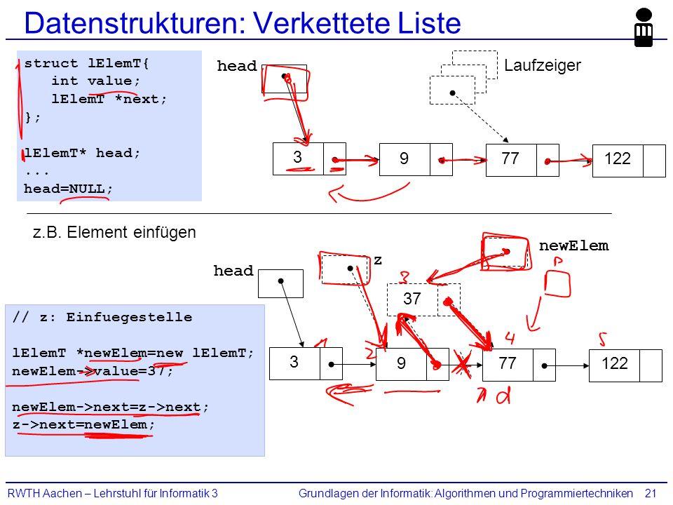 Grundlagen der Informatik: Algorithmen und ProgrammiertechnikenRWTH Aachen – Lehrstuhl für Informatik 321 Datenstrukturen: Verkettete Liste head Laufzeiger 9 3 77122 struct lElemT{ int value; lElemT *next; }; lElemT* head;...