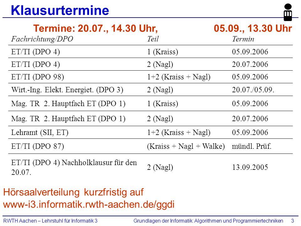 Grundlagen der Informatik: Algorithmen und ProgrammiertechnikenRWTH Aachen – Lehrstuhl für Informatik 33 Klausurtermine Fachrichtung/DPOTeilTermin ET/TI (DPO 4)1 (Kraiss)05.09.2006 ET/TI (DPO 4)2 (Nagl)20.07.2006 ET/TI (DPO 98)1+2 (Kraiss + Nagl)05.09.2006 Wirt.-Ing.