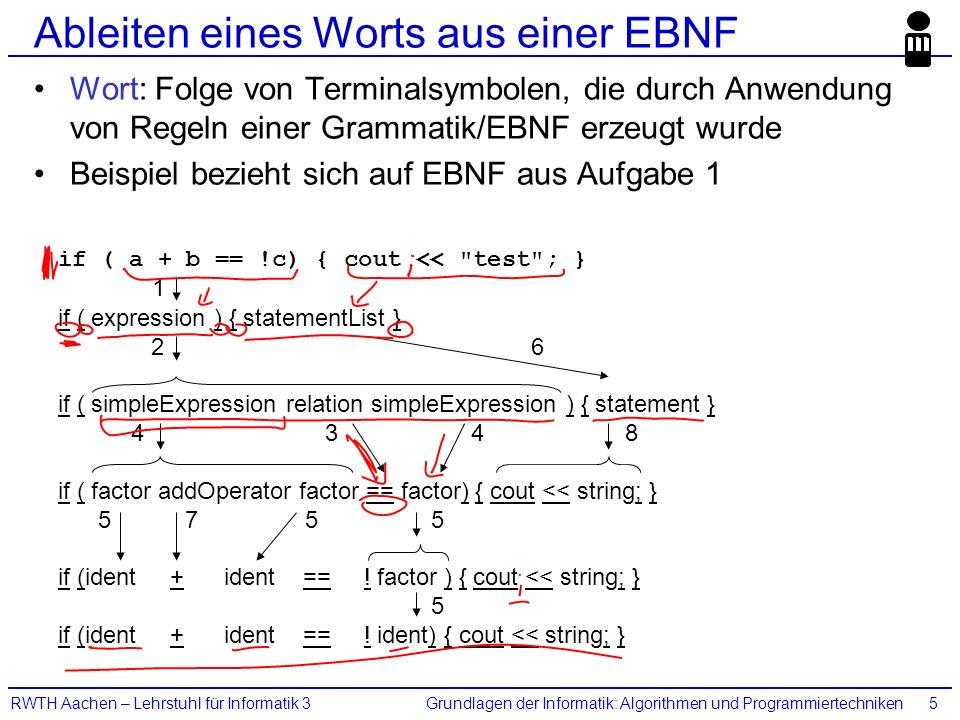 Grundlagen der Informatik: Algorithmen und ProgrammiertechnikenRWTH Aachen – Lehrstuhl für Informatik 35 Ableiten eines Worts aus einer EBNF Wort: Folge von Terminalsymbolen, die durch Anwendung von Regeln einer Grammatik/EBNF erzeugt wurde Beispiel bezieht sich auf EBNF aus Aufgabe 1 if ( a + b == !c) { cout << test ; } if ( expression ) { statementList } 2 6 if ( simpleExpression relation simpleExpression ) { statement } 4 3 4 8 if ( factor addOperator factor == factor) { cout << string; } 5 7 5 5 if (ident + ident == .
