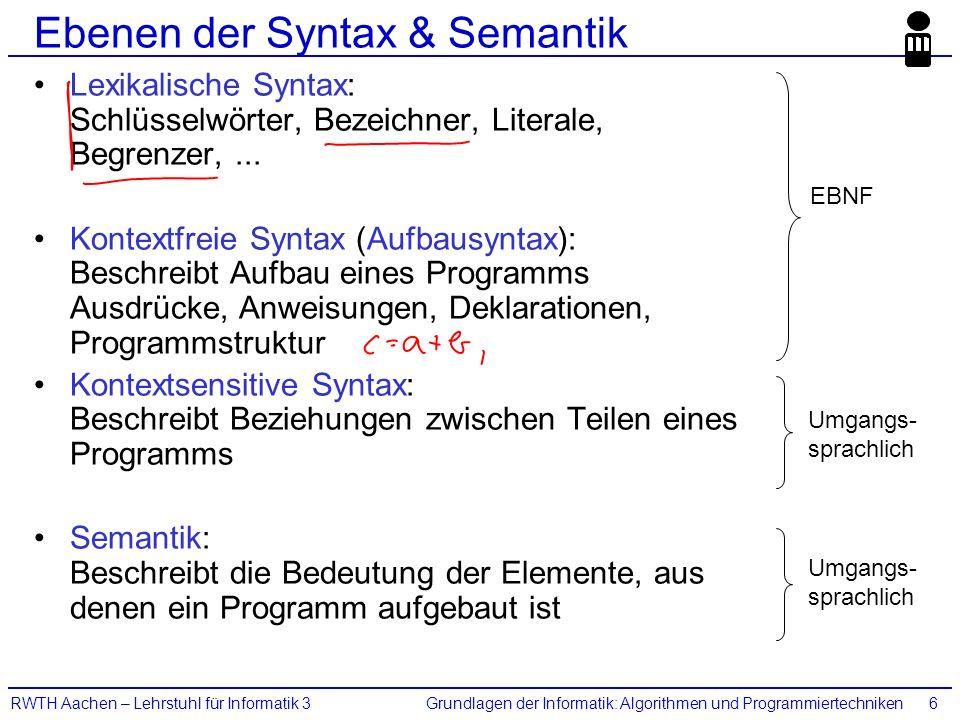 Grundlagen der Informatik: Algorithmen und ProgrammiertechnikenRWTH Aachen – Lehrstuhl für Informatik 36 Ebenen der Syntax & Semantik Lexikalische Syn