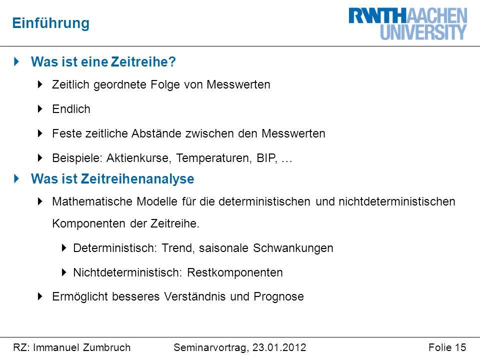 Seminarvortrag, 23.01.2012RZ: Immanuel ZumbruchFolie 15  Was ist eine Zeitreihe.