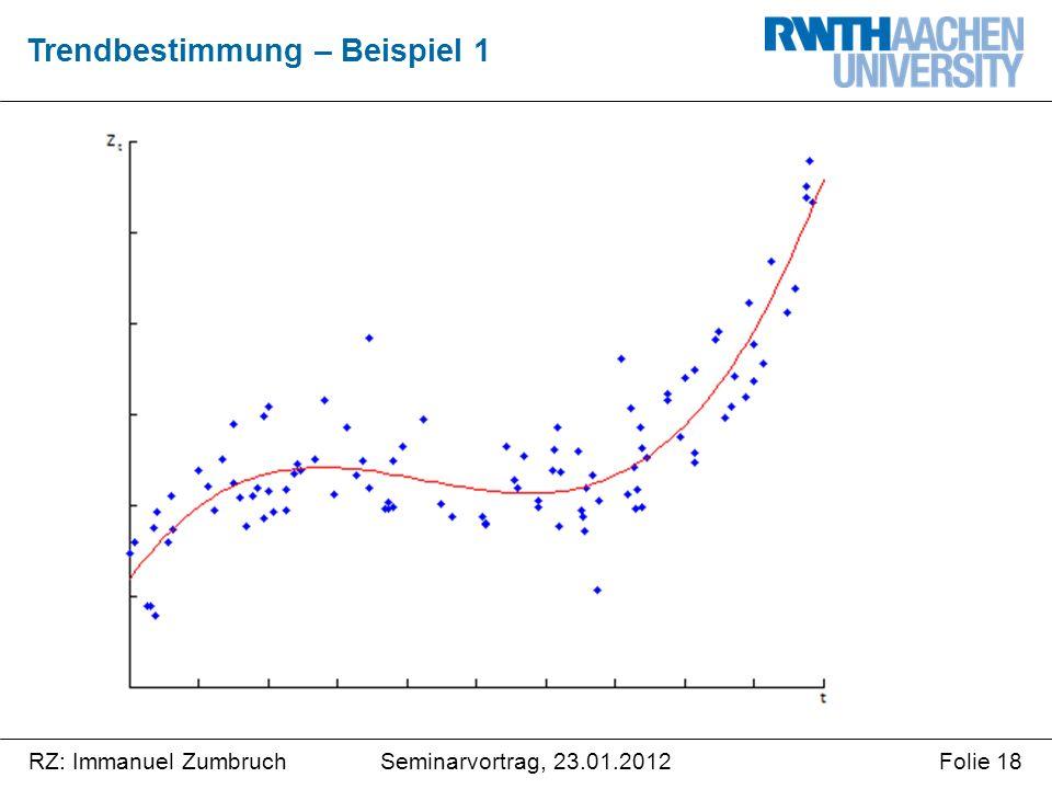Seminarvortrag, 23.01.2012RZ: Immanuel ZumbruchFolie 18 Trendbestimmung – Beispiel 1