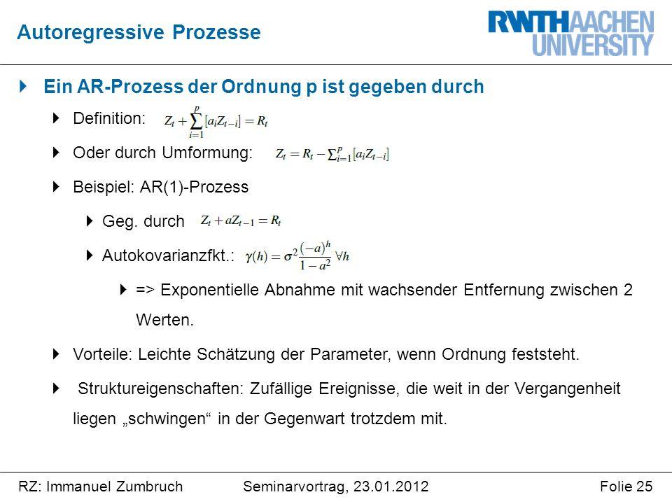 Seminarvortrag, 23.01.2012RZ: Immanuel ZumbruchFolie 25  Ein AR-Prozess der Ordnung p ist gegeben durch  Definition:  Oder durch Umformung:  Beispiel: AR(1)-Prozess  Geg.