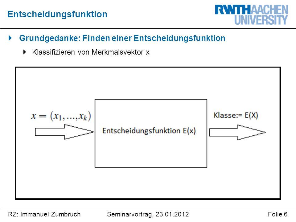 Seminarvortrag, 23.01.2012RZ: Immanuel ZumbruchFolie 27 Zusammenfassung Gegenüberstellung der Methoden zur Datenanalyse