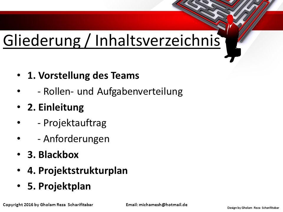 Gliederung / Inhaltsverzeichnis 1. Vorstellung des Teams - Rollen- und Aufgabenverteilung 2.