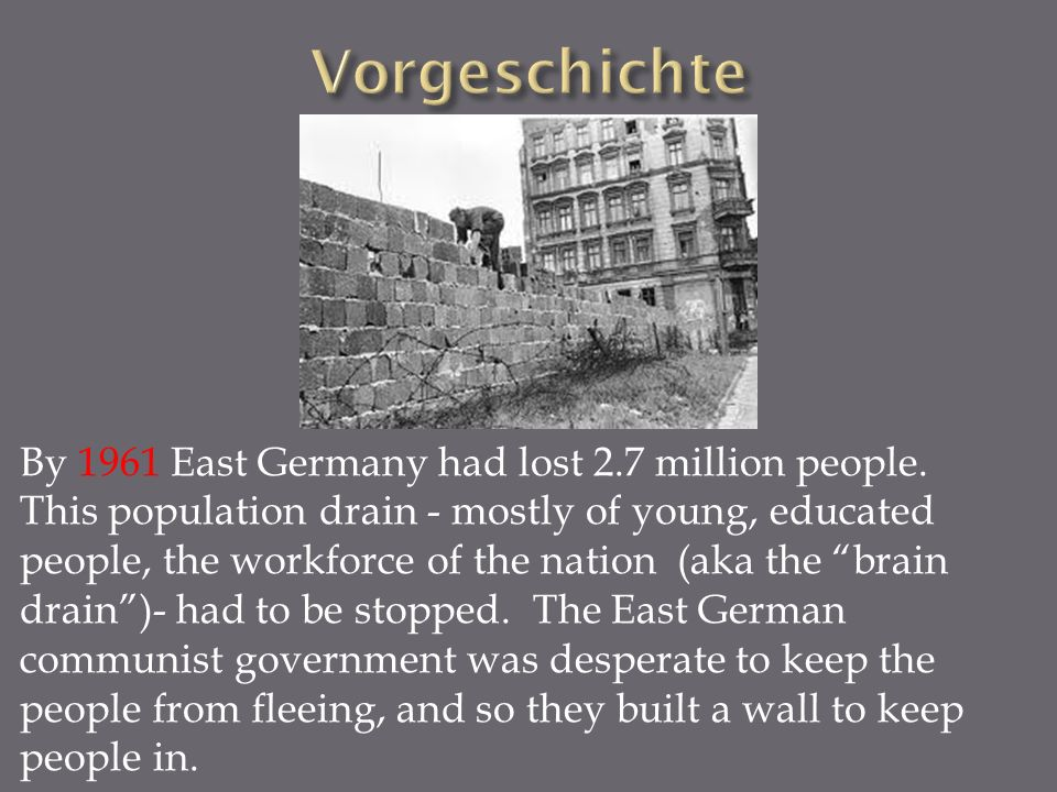 By 1961 East Germany had lost 2.7 million people.