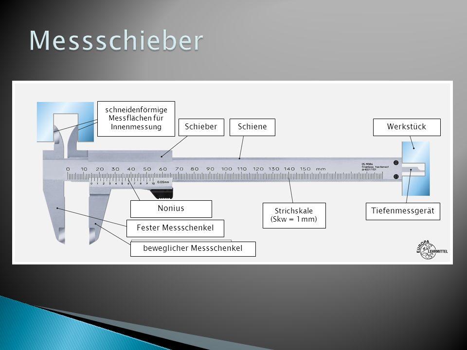 schneidenförmige Messflächen für Innenmessung SchieberSchieneWerkstück Nonius Fester Messschenkel beweglicher Messschenkel Tiefenmessgerät Strichskale (Skw = 1mm)