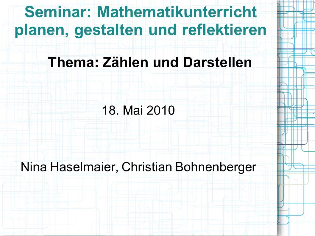 Seminar: Mathematikunterricht planen, gestalten und reflektieren 18.