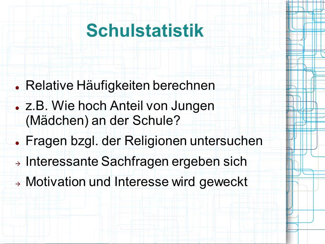 Schulstatistik Relative Häufigkeiten berechnen z.B.