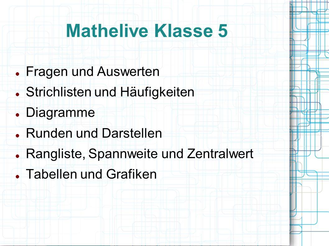 Mathelive Klasse 5 Fragen und Auswerten Strichlisten und Häufigkeiten Diagramme Runden und Darstellen Rangliste, Spannweite und Zentralwert Tabellen und Grafiken