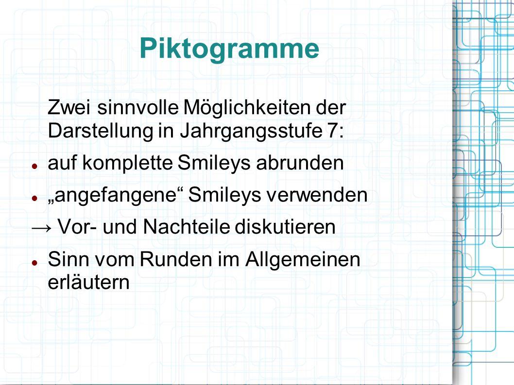 """Piktogramme Zwei sinnvolle Möglichkeiten der Darstellung in Jahrgangsstufe 7: auf komplette Smileys abrunden """"angefangene Smileys verwenden → Vor- und Nachteile diskutieren Sinn vom Runden im Allgemeinen erläutern"""