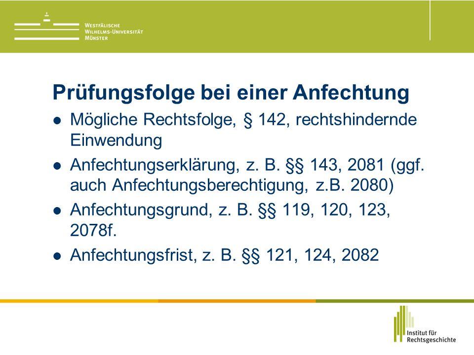 Prüfungsfolge bei einer Anfechtung Mögliche Rechtsfolge, § 142, rechtshindernde Einwendung Anfechtungserklärung, z.