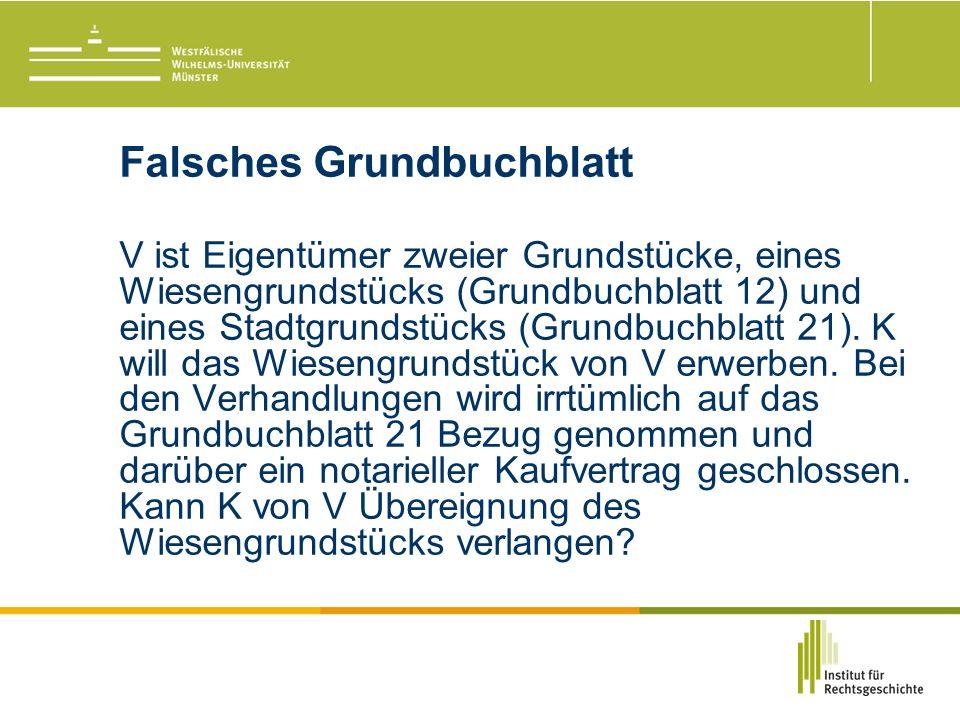 Falsches Grundbuchblatt V ist Eigentümer zweier Grundstücke, eines Wiesengrundstücks (Grundbuchblatt 12) und eines Stadtgrundstücks (Grundbuchblatt 21).