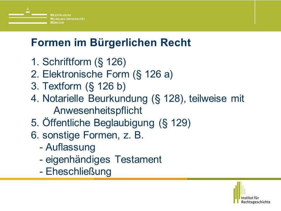 Formen im Bürgerlichen Recht 1. Schriftform (§ 126) 2.