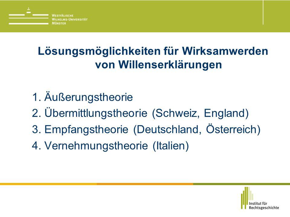 Lösungsmöglichkeiten für Wirksamwerden von Willenserklärungen 1.