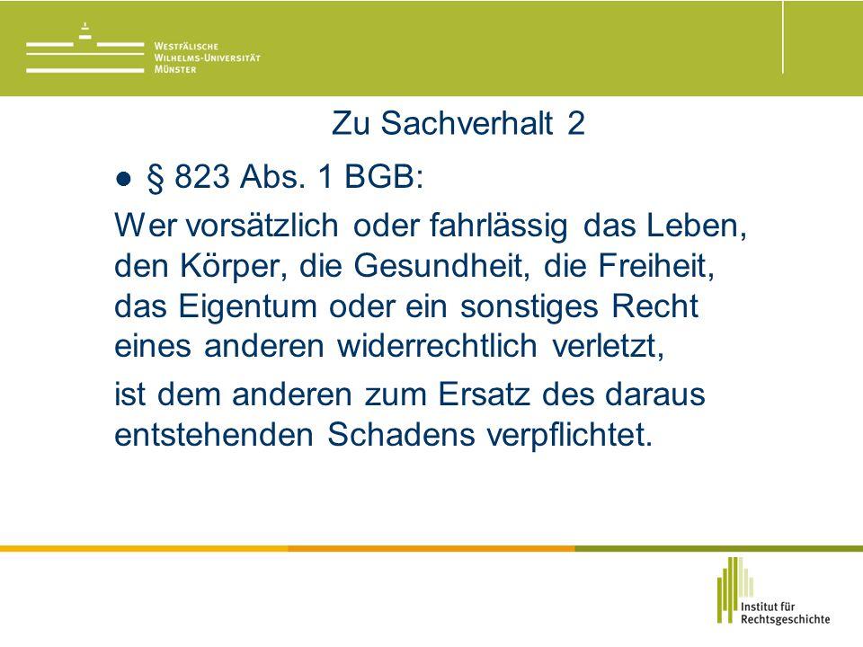 Zu Sachverhalt 2 § 823 Abs.