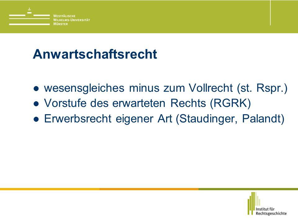 Anwartschaftsrecht wesensgleiches minus zum Vollrecht (st.
