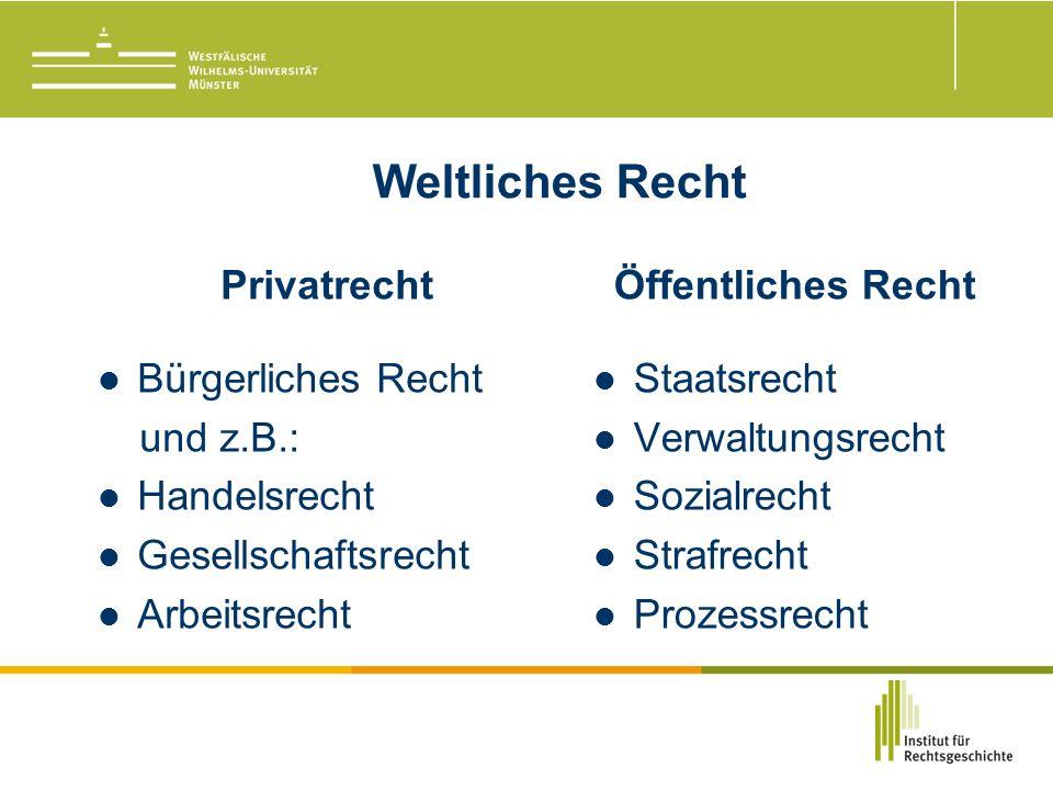 Weltliches Recht Privatrecht Bürgerliches Recht und z.B.: Handelsrecht Gesellschaftsrecht Arbeitsrecht Öffentliches Recht Staatsrecht Verwaltungsrecht Sozialrecht Strafrecht Prozessrecht