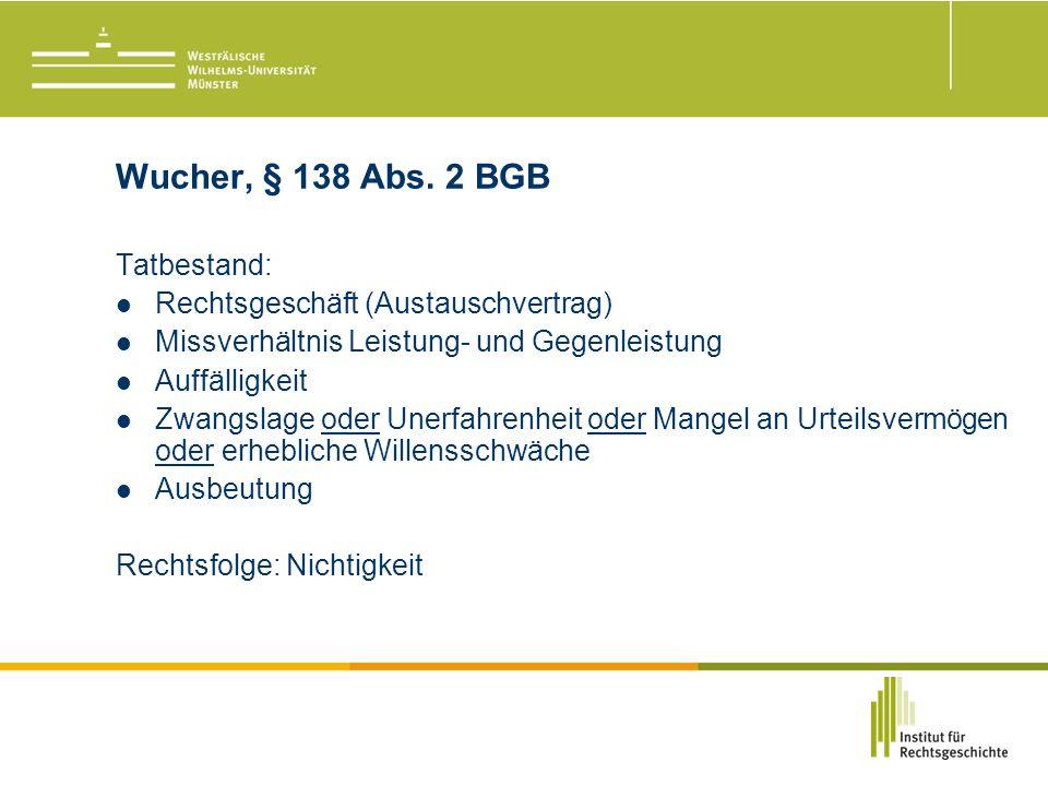 Wucher, § 138 Abs.