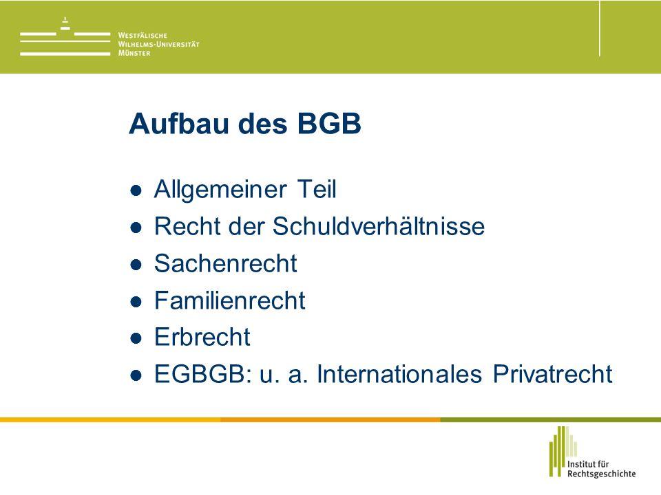 Aufbau des BGB Allgemeiner Teil Recht der Schuldverhältnisse Sachenrecht Familienrecht Erbrecht EGBGB: u.
