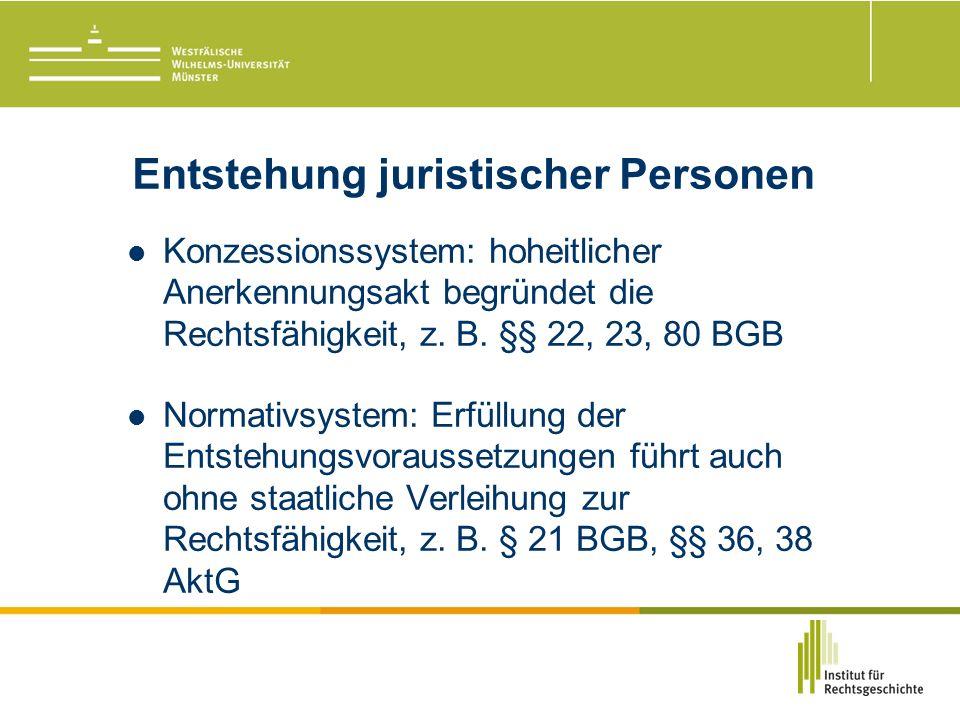 Entstehung juristischer Personen Konzessionssystem: hoheitlicher Anerkennungsakt begründet die Rechtsfähigkeit, z.