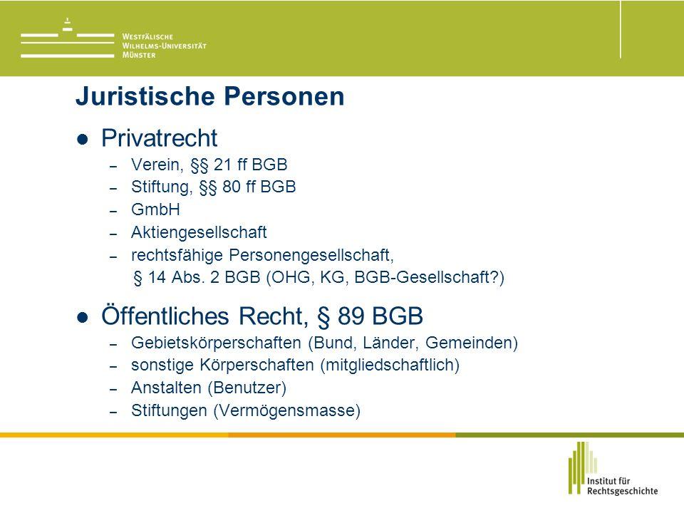 Juristische Personen Privatrecht – Verein, §§ 21 ff BGB – Stiftung, §§ 80 ff BGB – GmbH – Aktiengesellschaft – rechtsfähige Personengesellschaft, § 14 Abs.