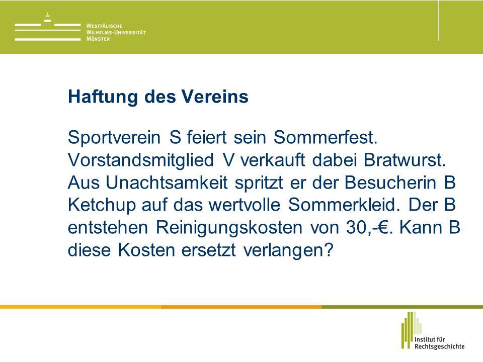Haftung des Vereins Sportverein S feiert sein Sommerfest.