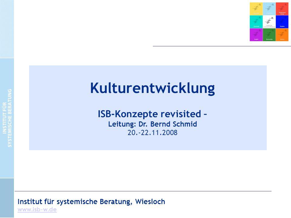 Institut für systemische Beratung, Wiesloch www.isb-w.de Kulturentwicklung ISB-Konzepte revisited – Leitung: Dr.