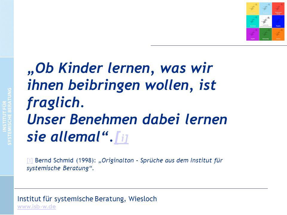 """Institut für systemische Beratung, Wiesloch www.isb-w.de """"Ob Kinder lernen, was wir ihnen beibringen wollen, ist fraglich."""