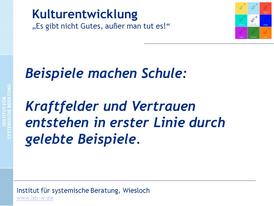 Institut für systemische Beratung, Wiesloch www.isb-w.de Beispiele machen Schule: Kraftfelder und Vertrauen entstehen in erster Linie durch gelebte Beispiele.