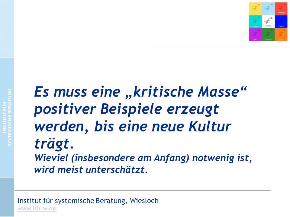 """Institut für systemische Beratung, Wiesloch www.isb-w.de Es muss eine """"kritische Masse positiver Beispiele erzeugt werden, bis eine neue Kultur trägt."""