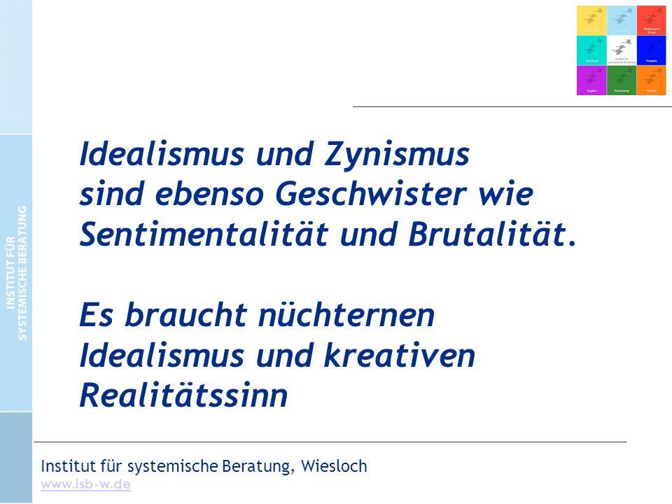 Institut für systemische Beratung, Wiesloch www.isb-w.de Idealismus und Zynismus sind ebenso Geschwister wie Sentimentalität und Brutalität.