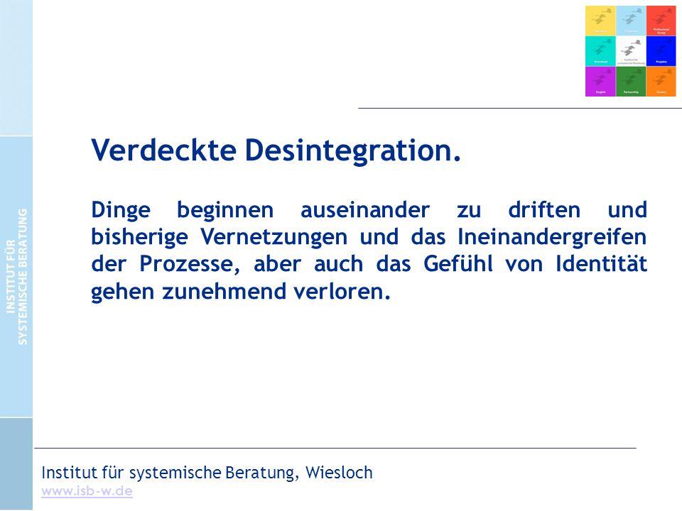 Institut für systemische Beratung, Wiesloch www.isb-w.de Verdeckte Desintegration.
