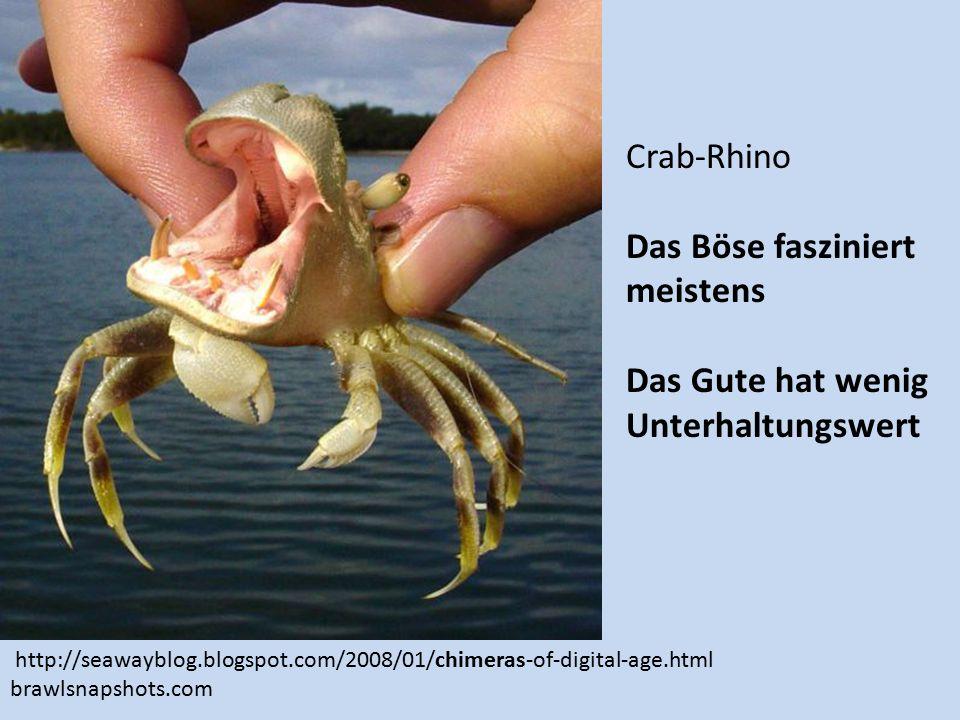 Crab-Rhino Das Böse fasziniert meistens Das Gute hat wenig Unterhaltungswert http://seawayblog.blogspot.com/2008/01/chimeras-of-digital-age.html brawlsnapshots.com