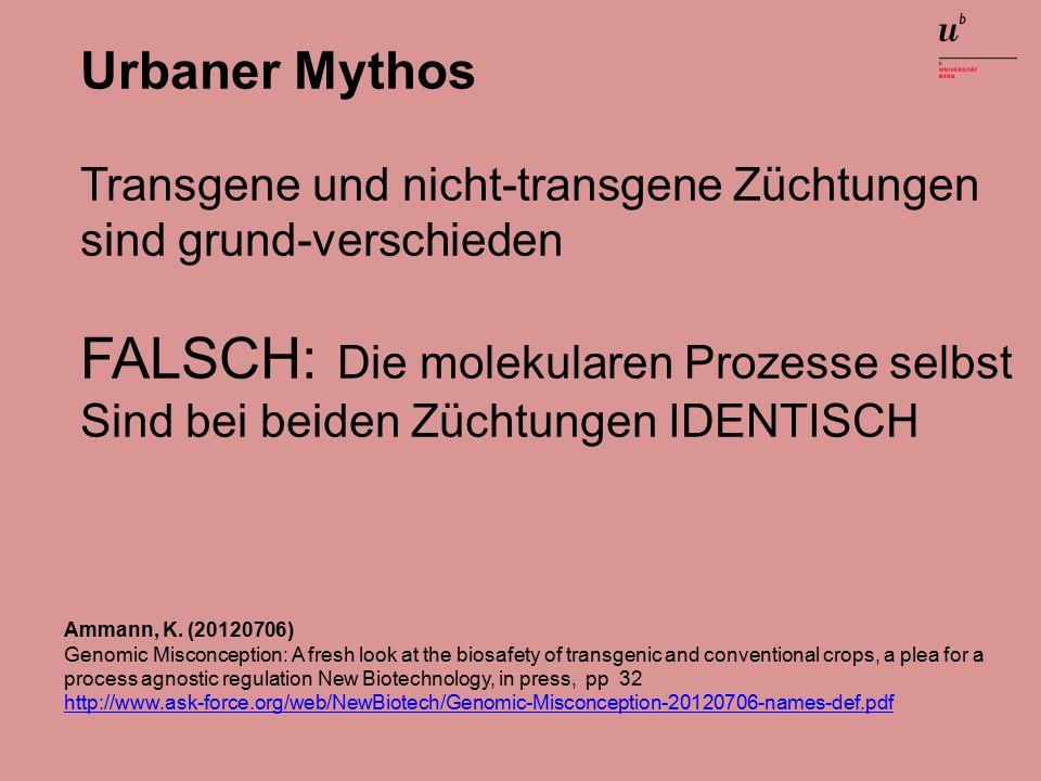Urbaner Mythos Transgene und nicht-transgene Züchtungen sind grund-verschieden FALSCH: Die molekularen Prozesse selbst Sind bei beiden Züchtungen IDENTISCH Ammann, K.