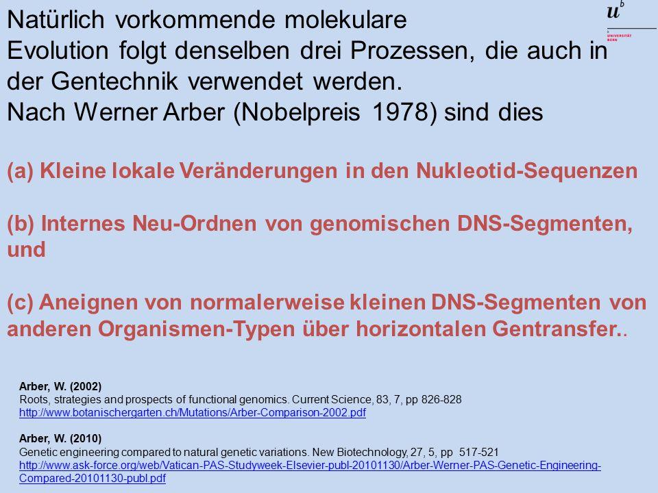 Natürlich vorkommende molekulare Evolution folgt denselben drei Prozessen, die auch in der Gentechnik verwendet werden.