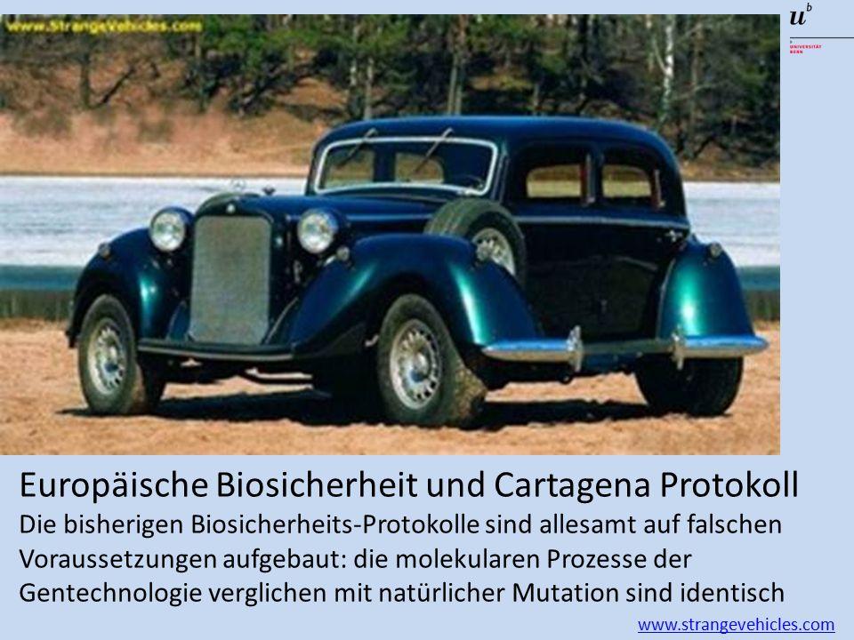 Europäische Biosicherheit und Cartagena Protokoll Die bisherigen Biosicherheits-Protokolle sind allesamt auf falschen Voraussetzungen aufgebaut: die molekularen Prozesse der Gentechnologie verglichen mit natürlicher Mutation sind identisch www.strangevehicles.com