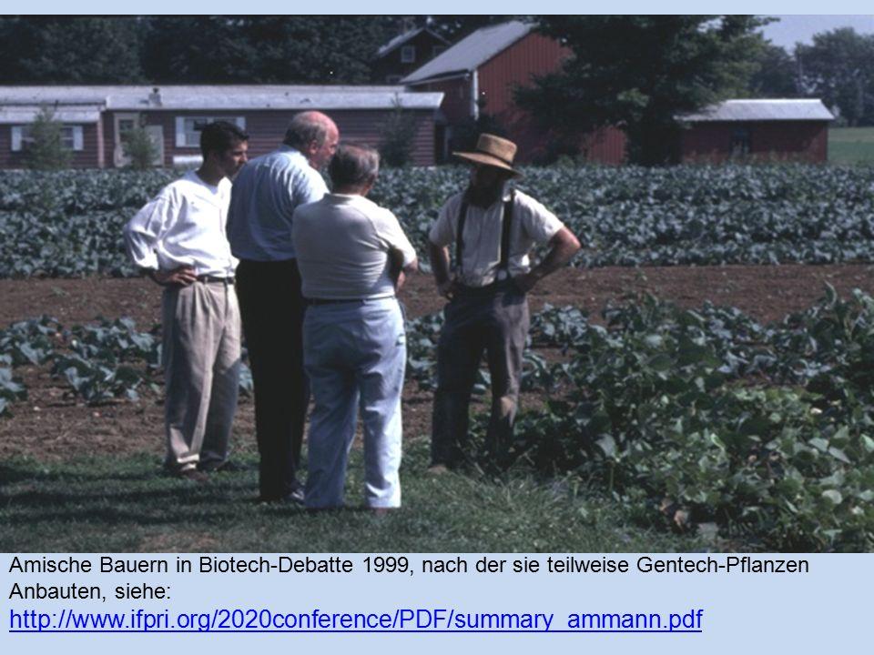 Amische Bauern in Biotech-Debatte 1999, nach der sie teilweise Gentech-Pflanzen Anbauten, siehe: http://www.ifpri.org/2020conference/PDF/summary_ammann.pdf