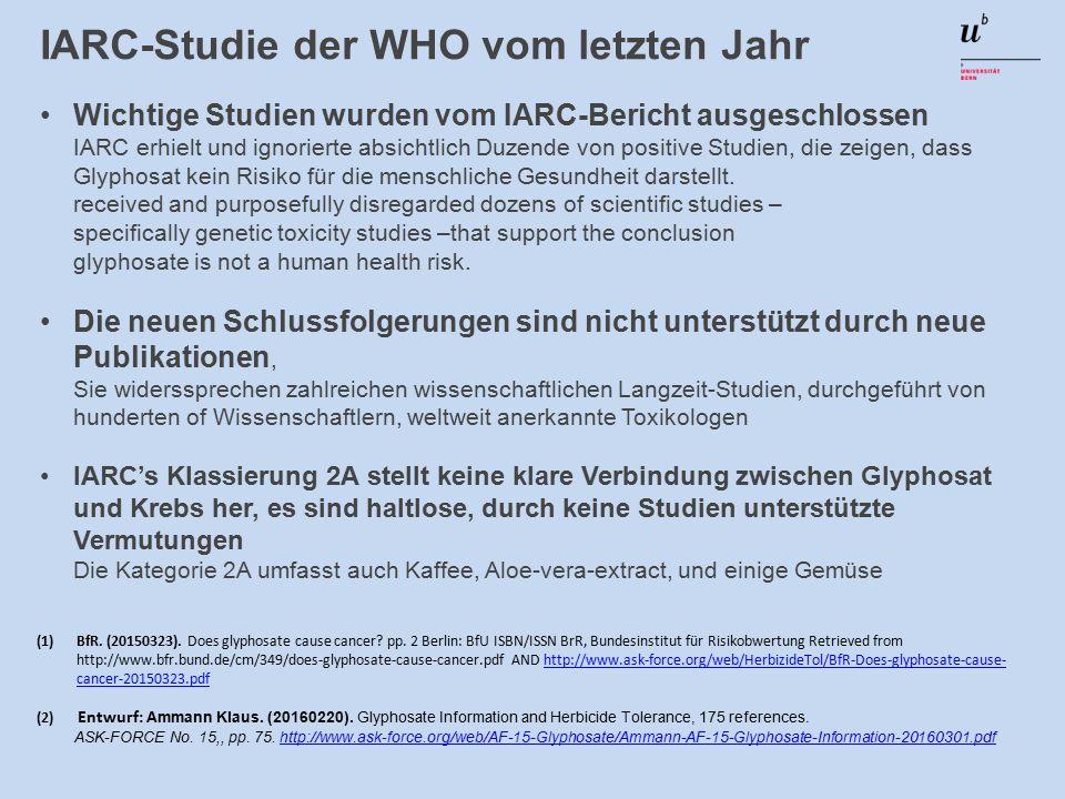 IARC-Studie der WHO vom letzten Jahr Wichtige Studien wurden vom IARC-Bericht ausgeschlossen IARC erhielt und ignorierte absichtlich Duzende von positive Studien, die zeigen, dass Glyphosat kein Risiko für die menschliche Gesundheit darstellt.