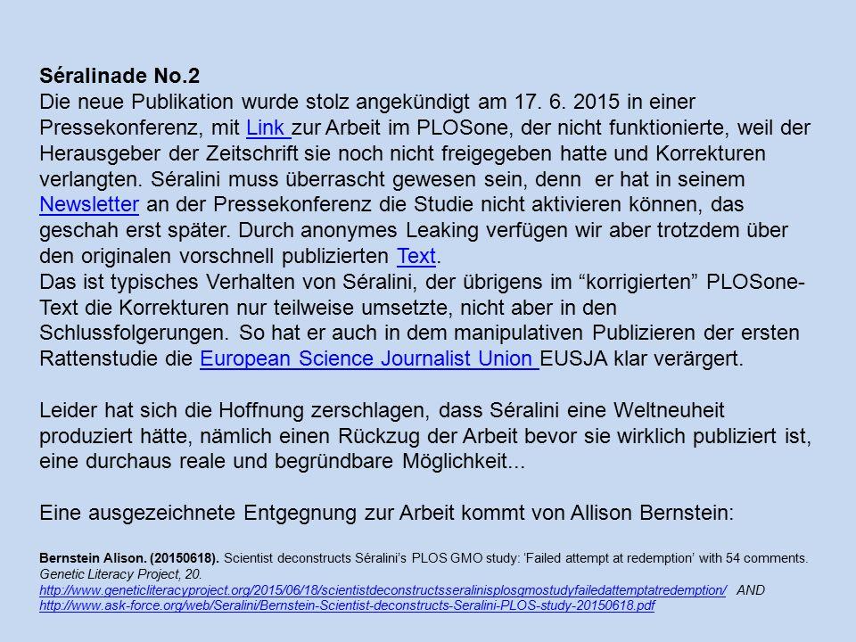 Séralinade No.2 Die neue Publikation wurde stolz angekündigt am 17.
