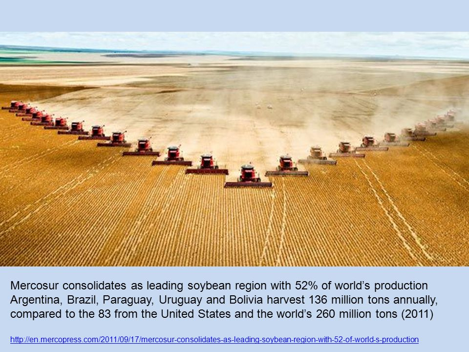 Mercosur consolidates as leading soybean region with 52% of world's production Argentina, Brazil, Paraguay, Uruguay and Bolivia harvest 136 million tons annually, compared to the 83 from the United States and the world's 260 million tons (2011) http://en.mercopress.com/2011/09/17/mercosur-consolidates-as-leading-soybean-region-with-52-of-world-s-production