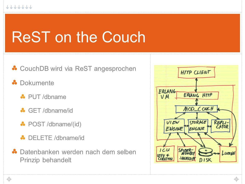10 ReST on the Couch CouchDB wird via ReST angesprochen Dokumente PUT /dbname GET /dbname/id POST /dbname/(id) DELETE /dbname/id Datenbanken werden nach dem selben Prinzip behandelt